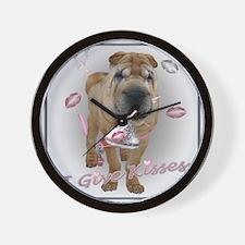 I Give Kisses Sharpei Wall Clock