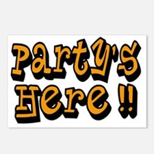 partys here orange Postcards (Package of 8)