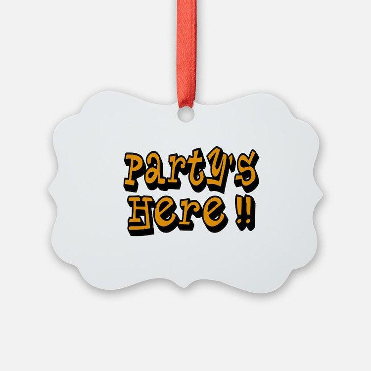 partys here orange Ornament