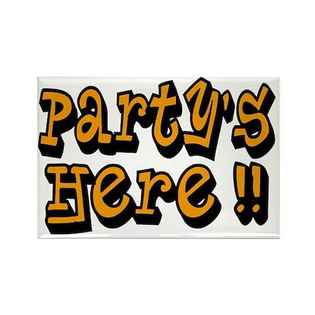partys here orange Rectangle Magnet
