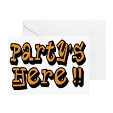 partys here orange Greeting Card