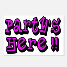 partys here pink Postcards (Package of 8)