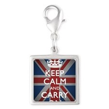 Keep Calm and Carry On Silver Square Charm