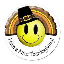 thanksgiving_smiley3 Round Car Magnet