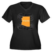 Arizona Women's Plus Size Dark V-Neck T-Shirt