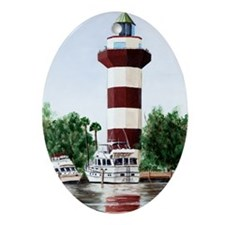 harbor light tall Oval Ornament