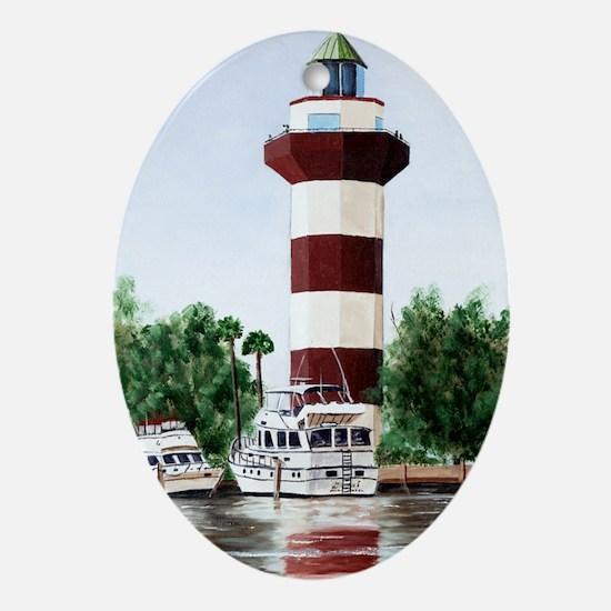 harbor light tall Oval Ornament