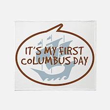 Babys First Columbus Day Throw Blanket