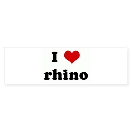I Love rhino Bumper Sticker