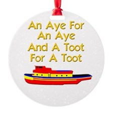 funny boat ship tugboat captain Ornament