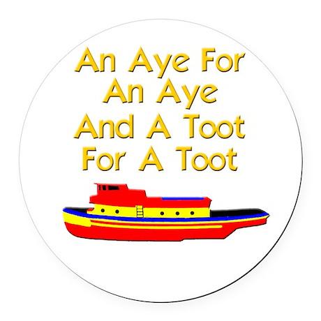 funny boat ship tugboat captain Round Car Magnet