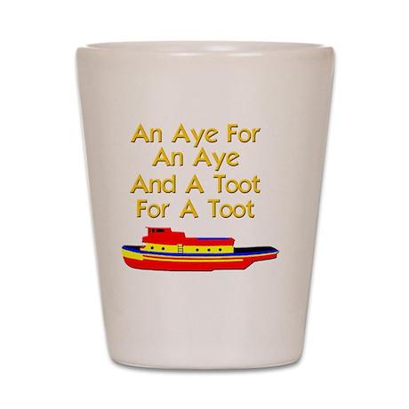 funny boat ship tugboat captain Shot Glass