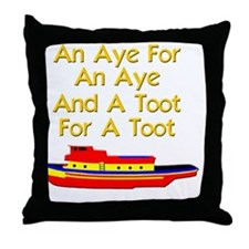 funny boat ship tugboat captain Throw Pillow