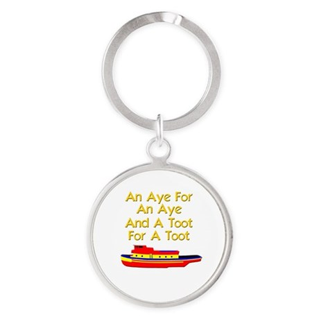 funny boat ship tugboat captain Round Keychain