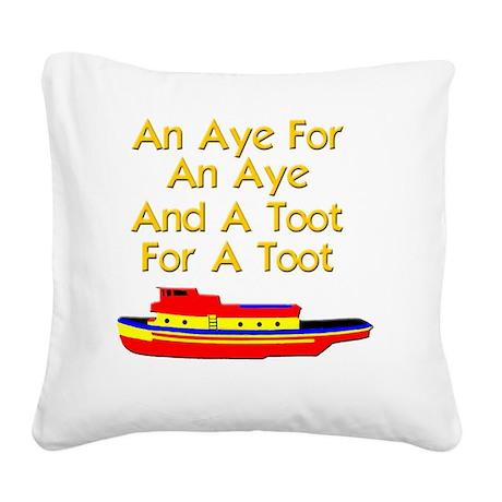 funny boat ship tugboat capta Square Canvas Pillow