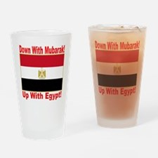 down_with_mubarak_up_with_egypt_tra Drinking Glass