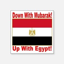 "down_with_mubarak_up_with_e Square Sticker 3"" x 3"""