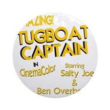 funny tugboat captain Round Ornament
