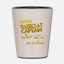 funny tugboat captain Shot Glass