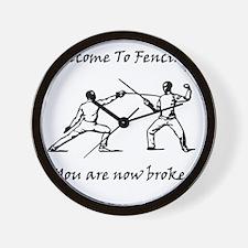Fencing Broke Black Wall Clock