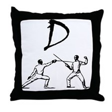 D Fencing Black Throw Pillow