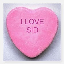 """HEART SID Square Car Magnet 3"""" x 3"""""""