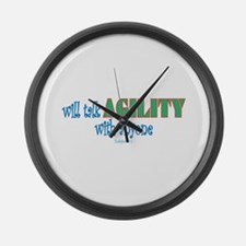Funny Sheltie agility Large Wall Clock