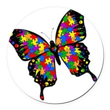 autismbutterfly-rotated Round Car Magnet