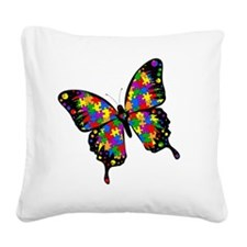autismbutterfly-rotated Square Canvas Pillow
