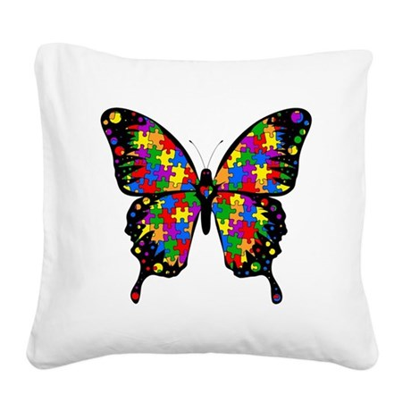autismbutterfly6inch Square Canvas Pillow