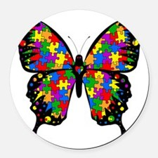 autismbutterfly6inch Round Car Magnet