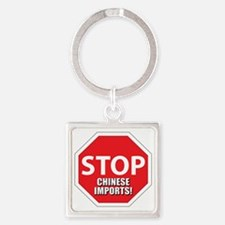 stop chinese Square Keychain