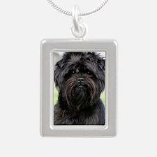 Affenpinscher 9Y516D-049 Silver Portrait Necklace