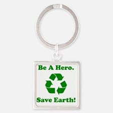 Recycle Save Earth Green Square Keychain