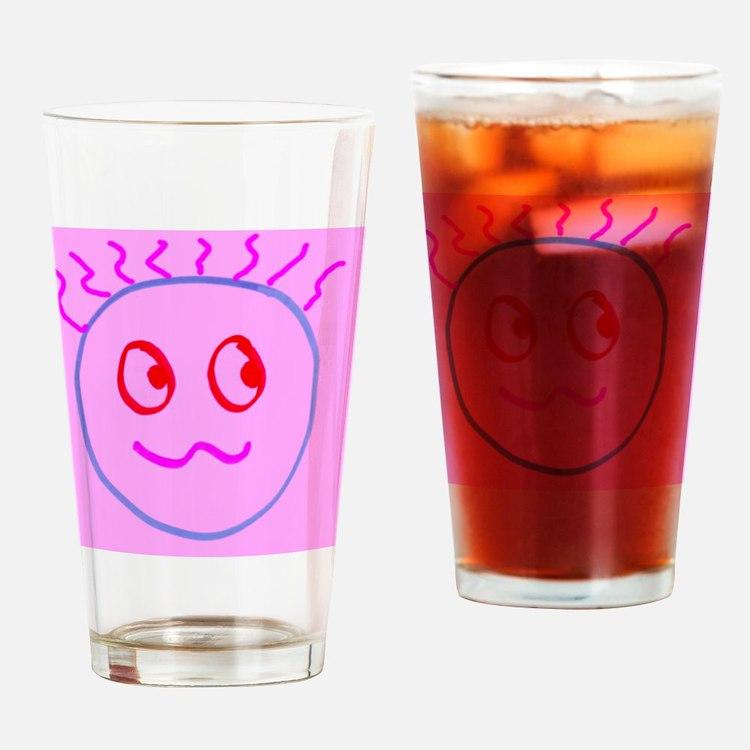 Pink Cute Goofball Gee Designer Drinking Glass