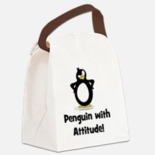 Penguin With Attitude Canvas Lunch Bag