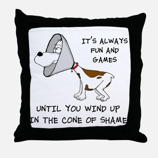 cone of shame3 black 300 Throw Pillow