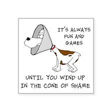 "cone of shame3 black 300 Square Sticker 3"" x 3"""