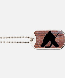 Hockey Goalie Brick Wall Dog Tags