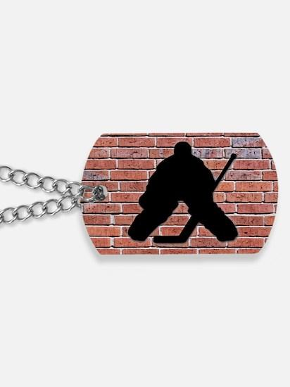 Hockey Goalie Brick Wall Dog Tags