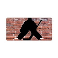 Hockey Goalie Brick Wall Aluminum License Plate