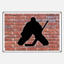 Hockey Goalie Brick Wall Banner