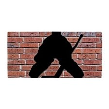 Hockey Goalie Brick Wall Beach Towel