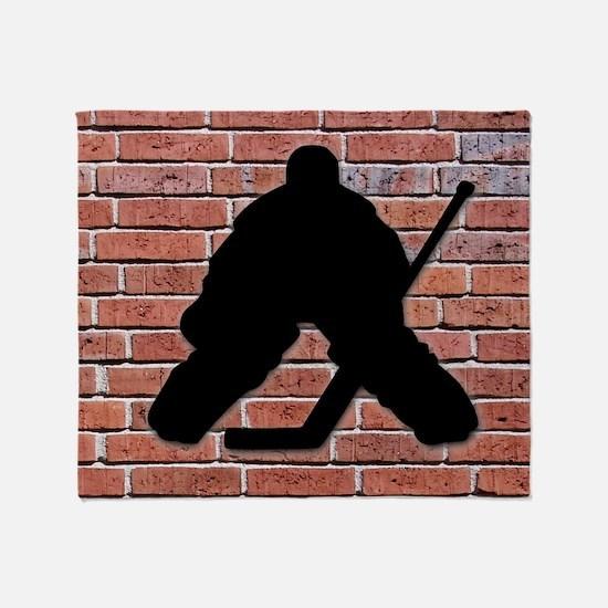 Hockey Goalie Brick Wall Throw Blanket