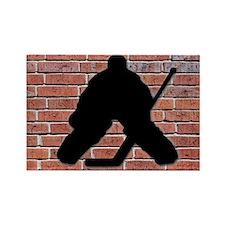 Hockey Goalie Brick Wall Rectangle Magnet