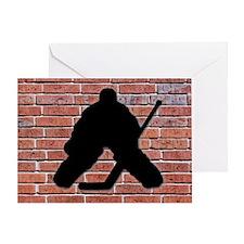 Hockey Goalie Brick Wall Greeting Card
