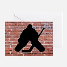 Hockey Goalie Brick Wall Greeting Card