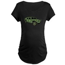 Green Military Humvee Maternity T-Shirt