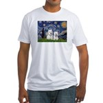 Starry-2Westies (custom) Fitted T-Shirt