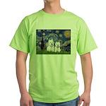 Starry-2Westies (custom) Green T-Shirt